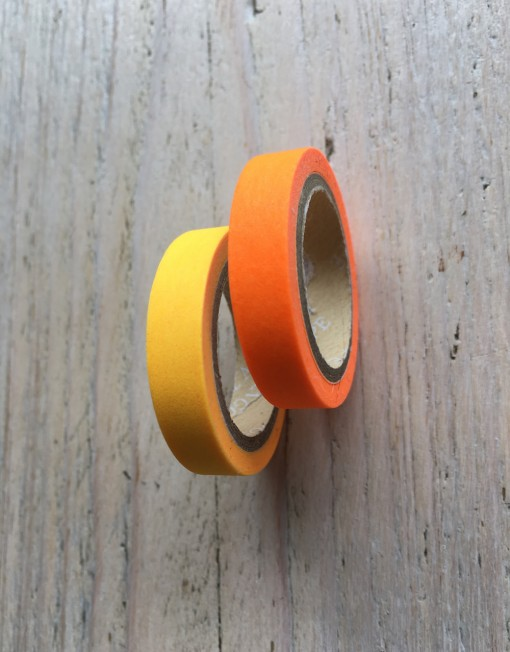 set paper tape geel en feloranje
