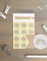 Tiny Little Cactus stickers rainbow