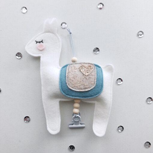 Alpaca blauw kaarthanger